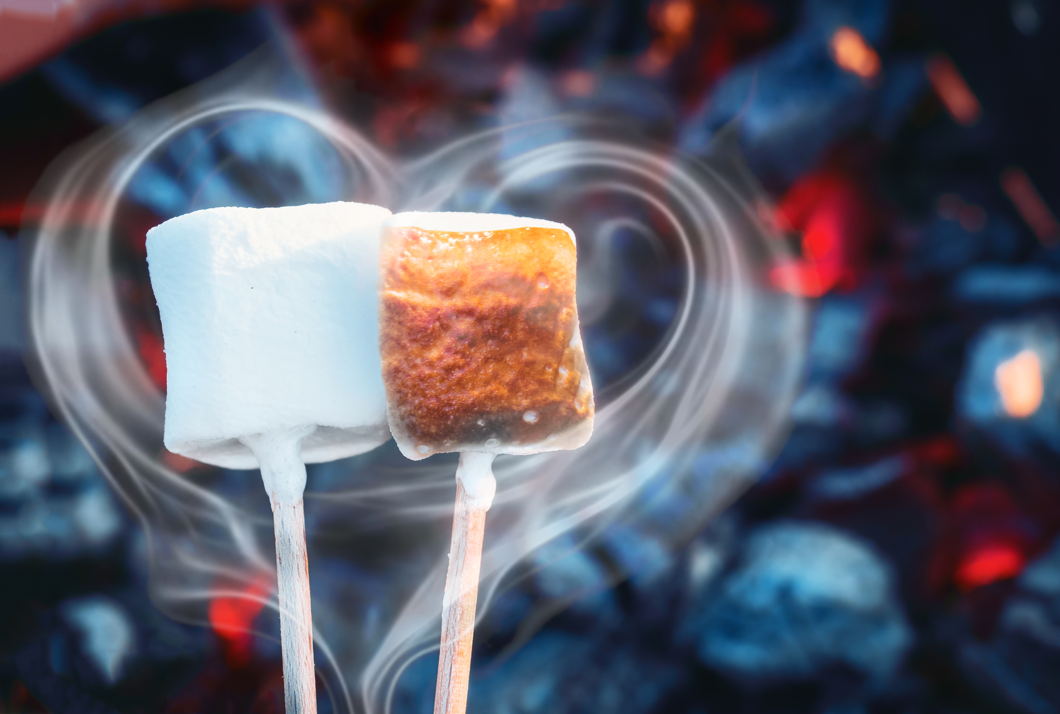 Toasting marshmallows on a garden fire pit