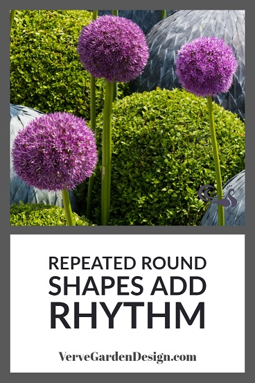 Allium and Buxus Round Shapes Create Rhythm in Garden Borders. A Place In The Garden Trade Stand. Image: Chris Denning/Verve Garden Design