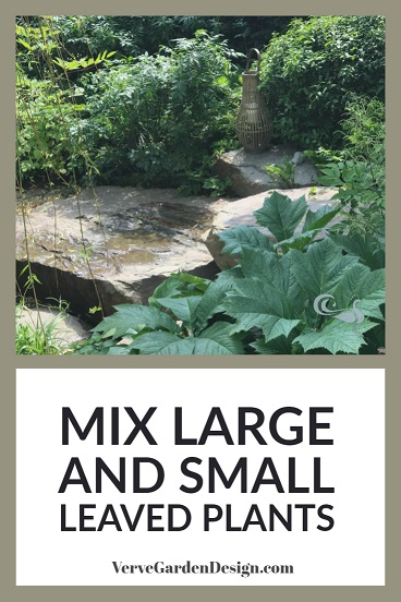 Large-leaves add contrast for better garden border design. Designer: Jo Thompson, Wedgwood Garden. Image: Lorraine Young/ Verve Garden Design.