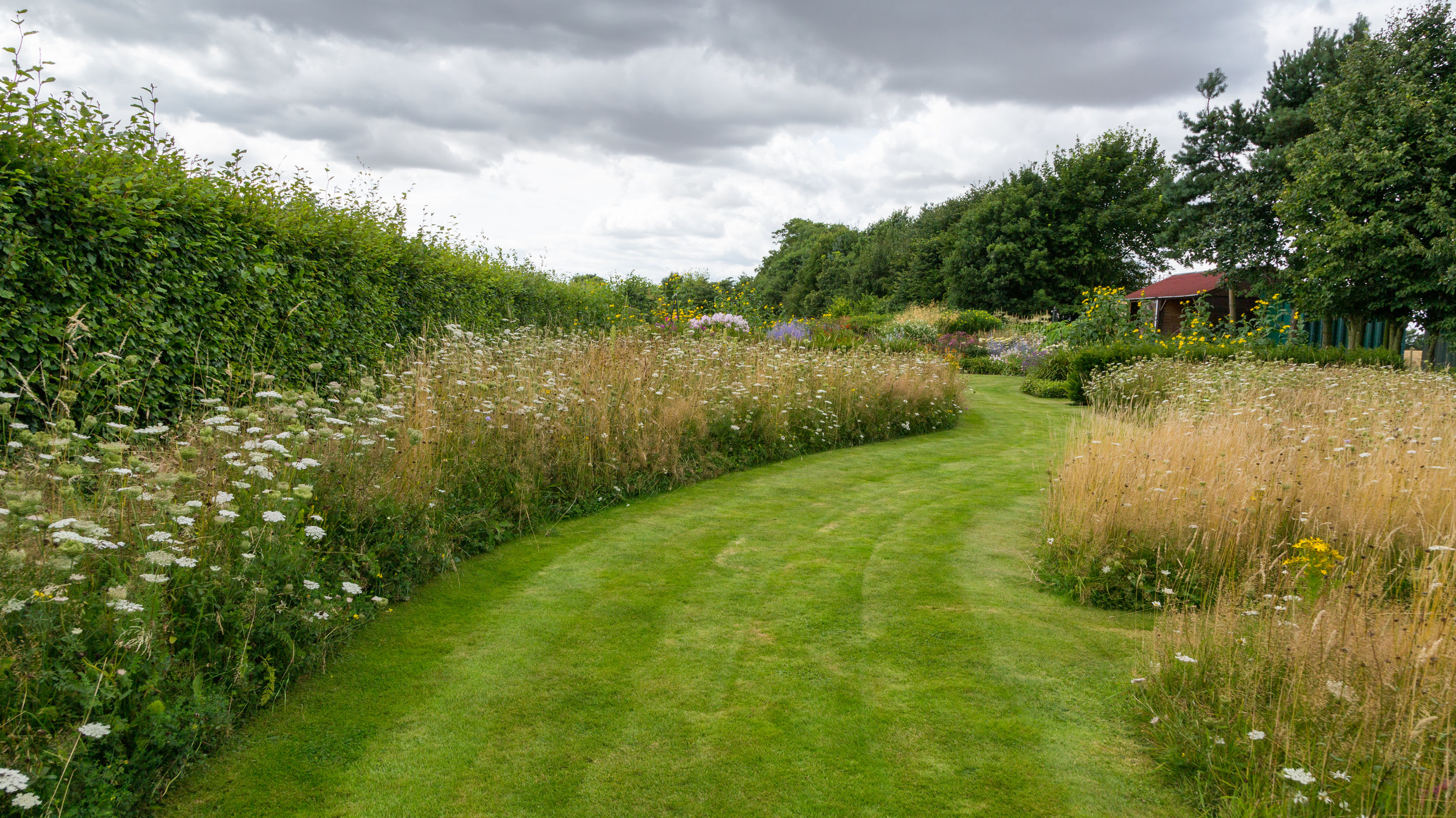 Annual, meadow-like swathes lead you into the colourful Prairie Borders at Brightwater Gardens. Image: Chris Denning/Verve Garden Design.
