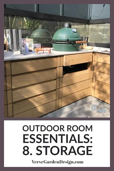 Consider adding storage to your outdoor room.  Image: Verve Garden Design.