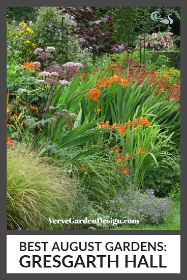 Angelica, Crocosmia, Helenium and Helianthus at Gresgarth Hall in August. Image: Lorraine Young/ Verve Garden Design
