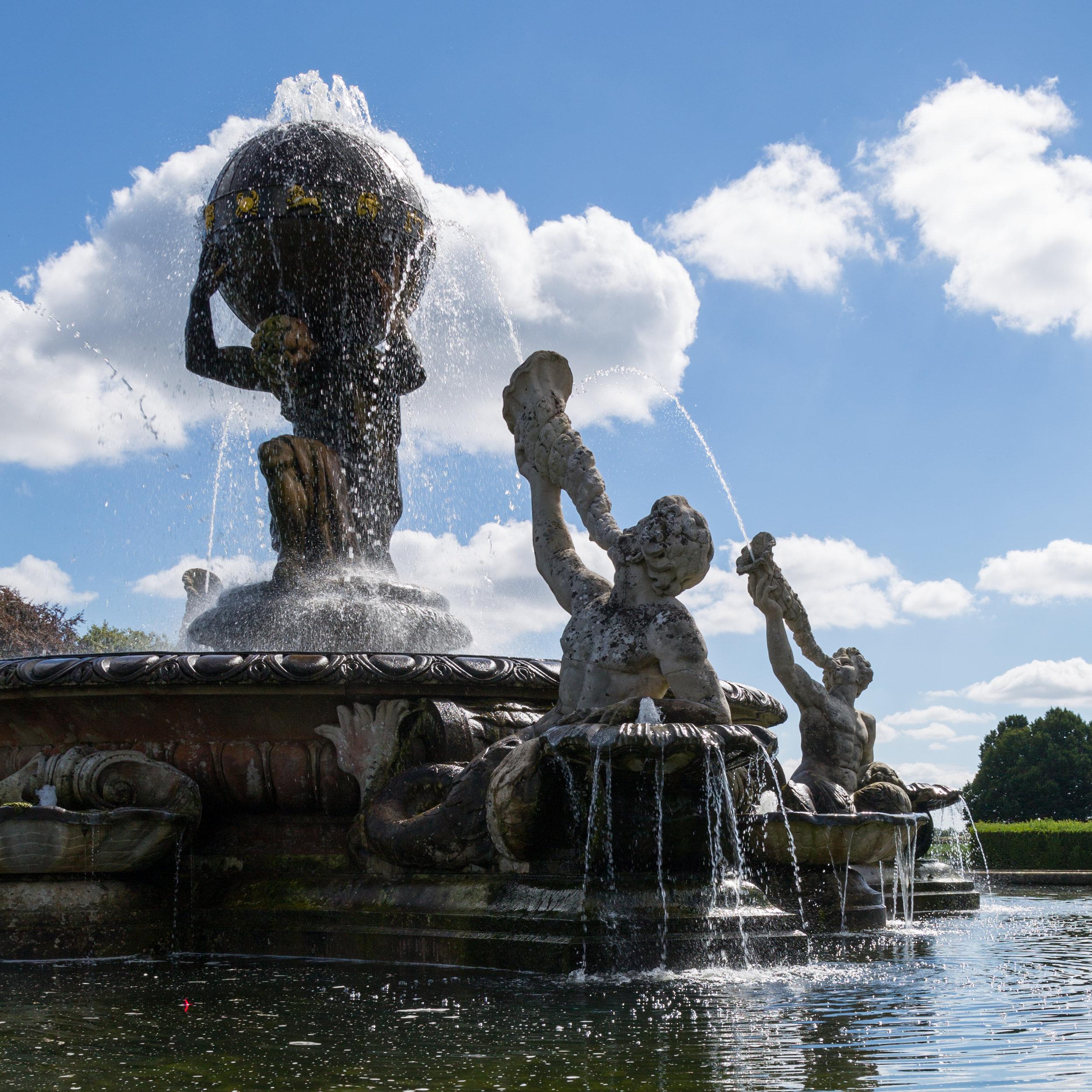 Tritons blowing water through shells at The Atlas Fountain,Castle Howard.  Image: Chris Denning/Verve Garden Design.