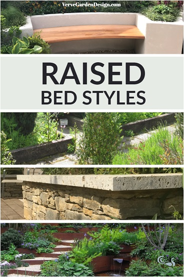 Different styles of modern raised bed. Image: Lorraine Young/Verve Garden Design.