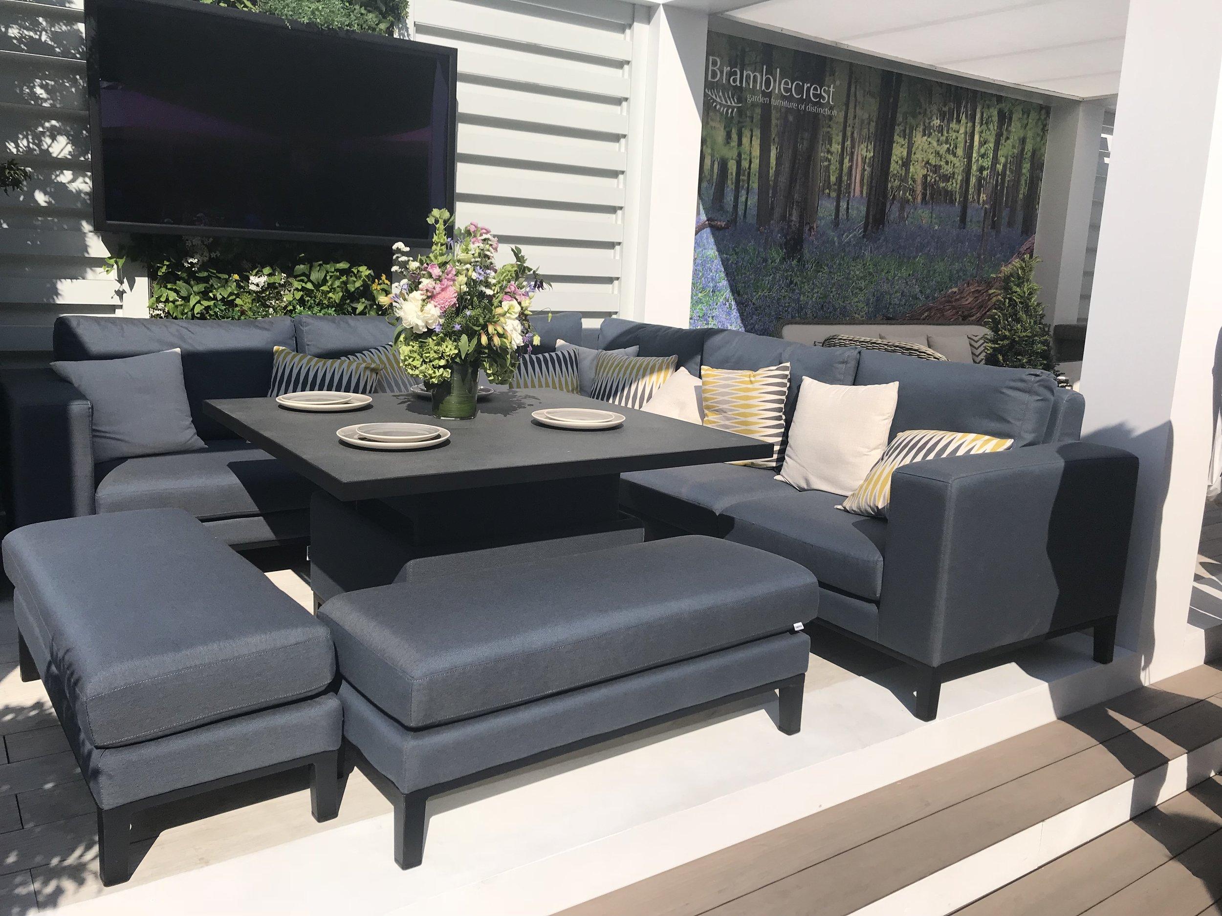 Indigo Range Outdoor Fabric Patio Furniture From Bramblecrest. Image: Lorraine Young/ Verve Garden Design