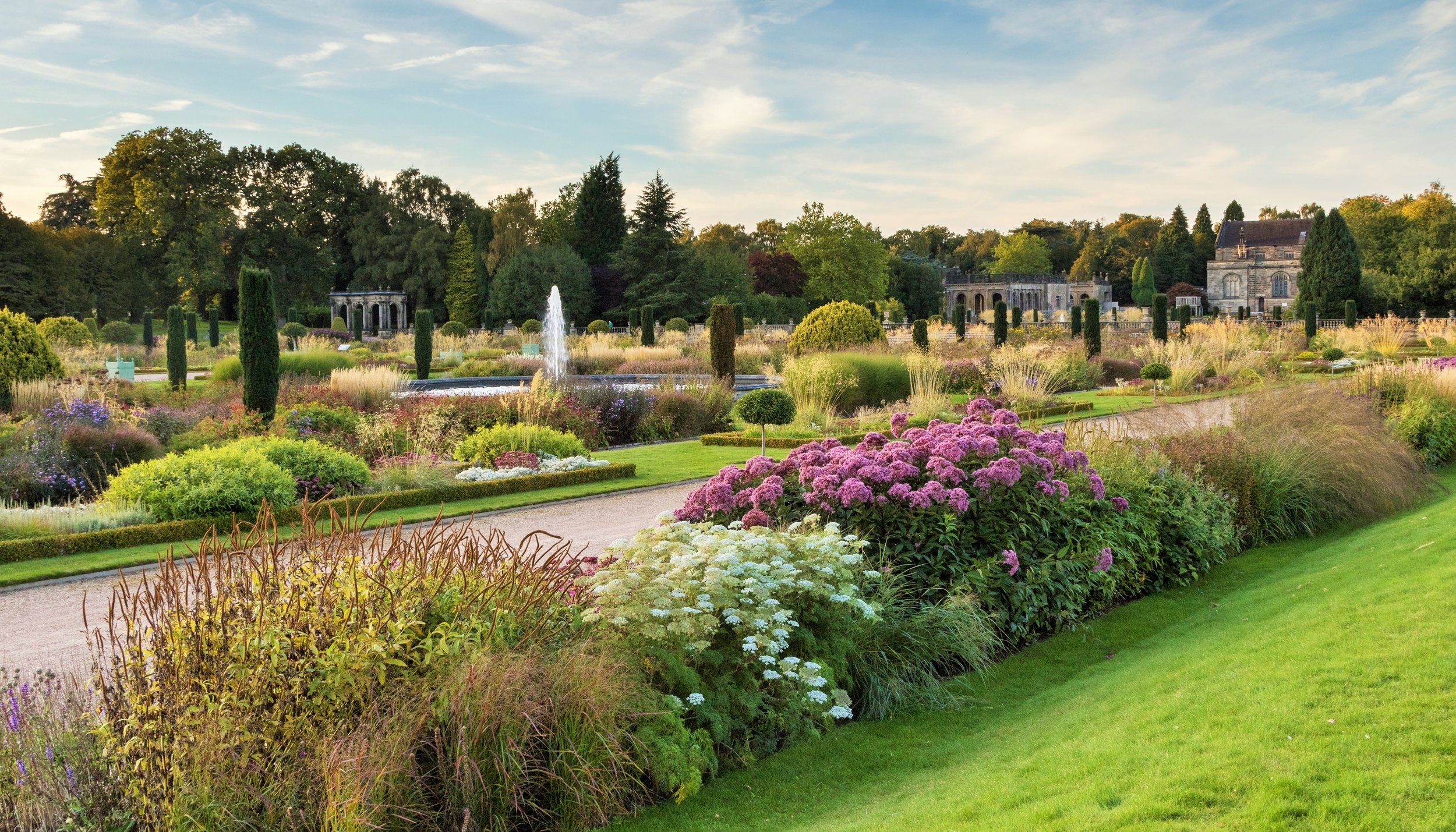The Italianate Garden Looking towards Trentham Church. Designer: Ton-Stuart-Smith.  Image: Chris Denning/ Verve Garden Design.