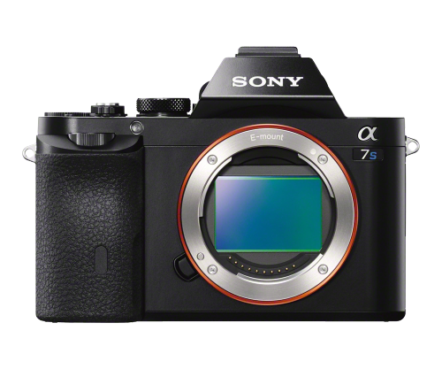 Sony a7S full frame DSLR camera with internal HD video, external 4K capability, and internally-controlled, full frame, time-lapse recording.  ISO 100 to 409,600 available.