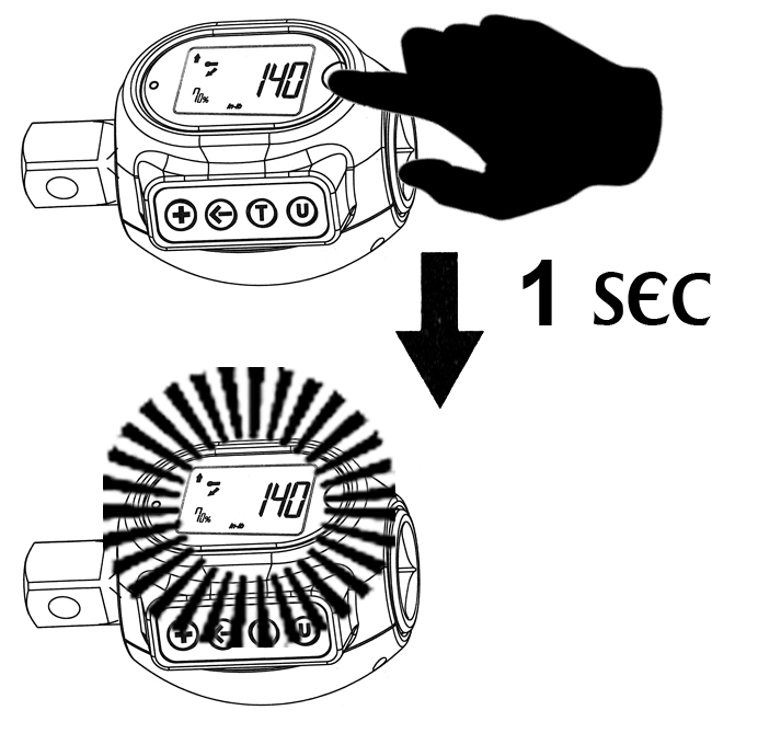 PRESSTHE (M) BUTTON FOR 1 SECOND TO LIGHT UP THE DISPLAY  PRESS AGAIN TO TURN OFF.