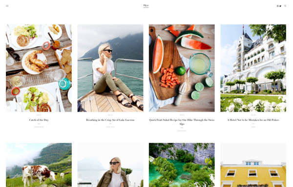 Need another template option with a fantastic blog? Skye   has a pretty great one that can be either image or text-focused.