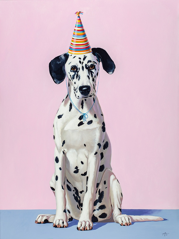 Dalmation with Striped Hat