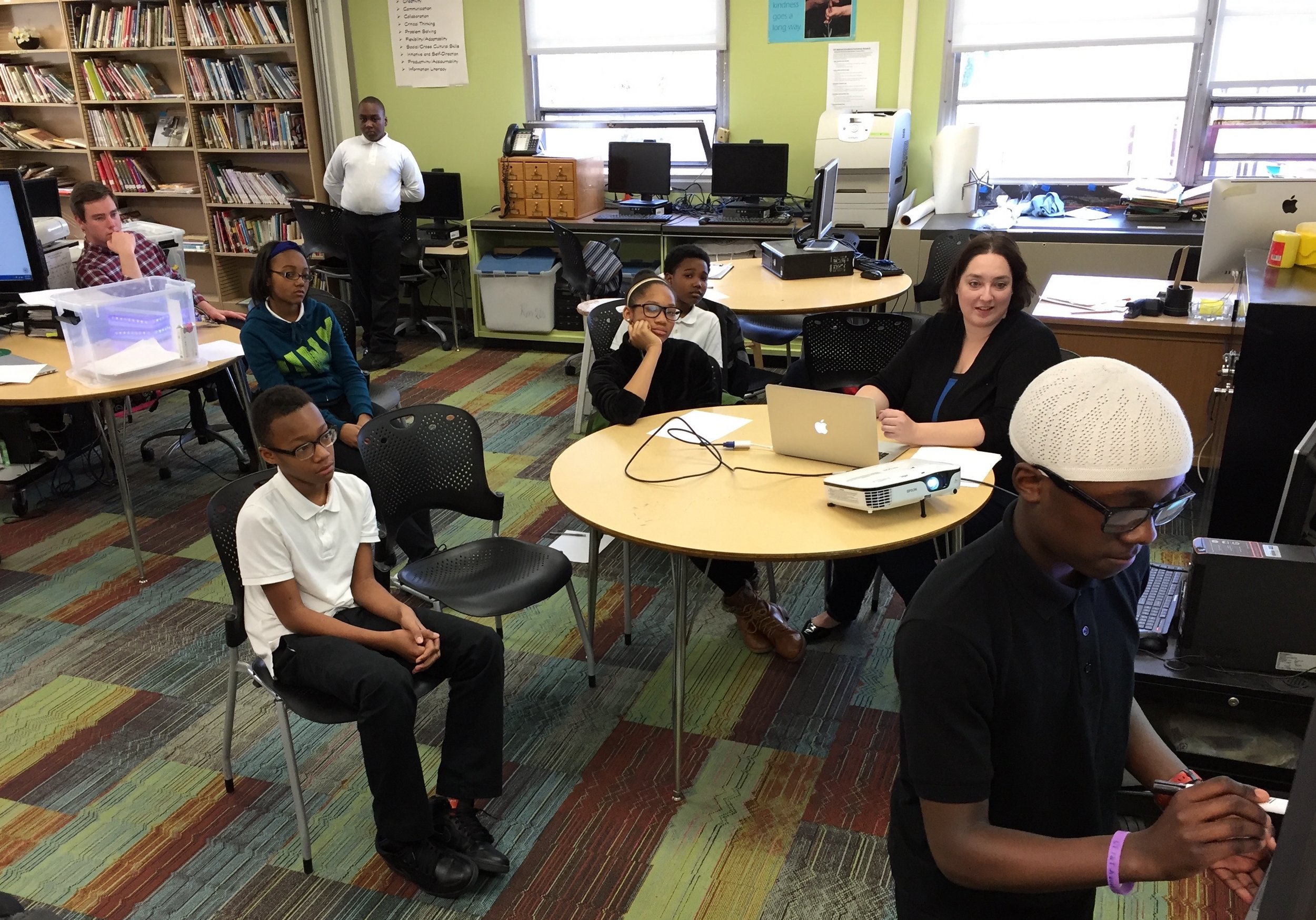 Dunne (CPS) Middle School Students Collaborating on Group Project