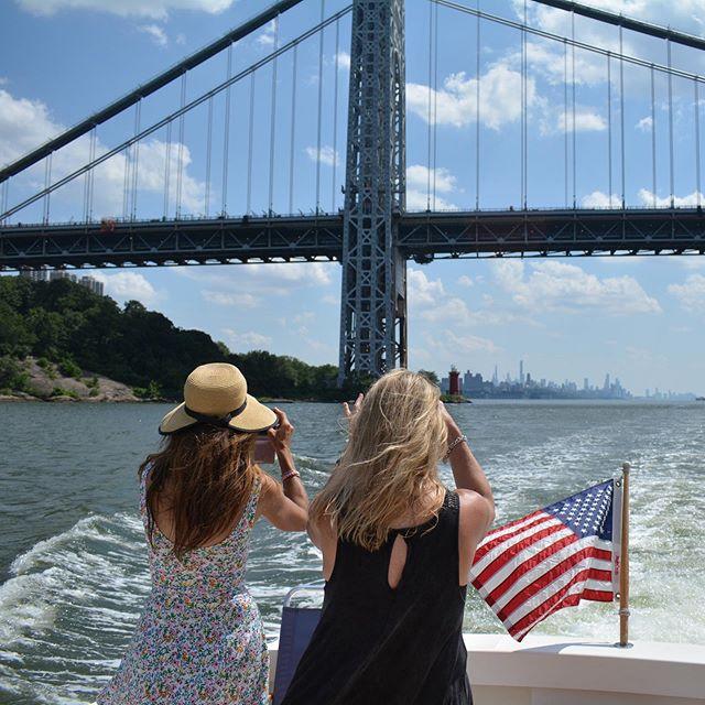 Getting the shot... passing under George Washington Bridge on our Manhattan Circumnavigation tour. #newyorkharbortours #tours #boattour #georgewashingtonbridge #pier25