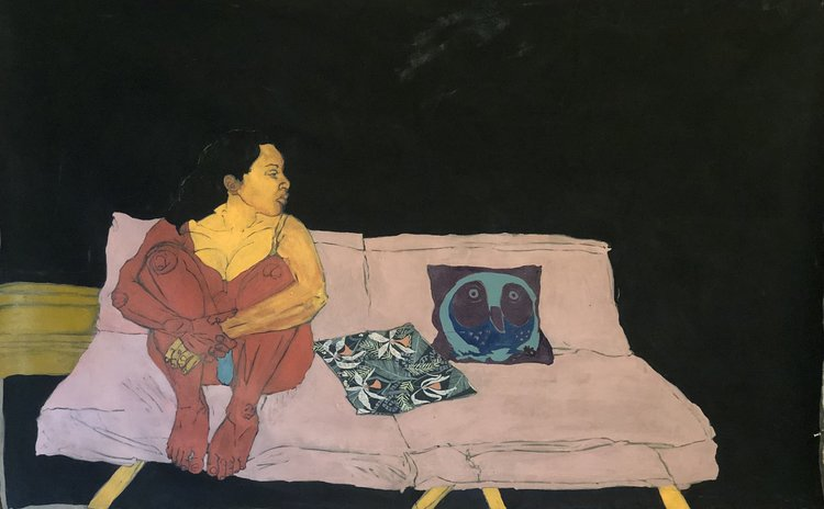 Ruth Rodriguez  Pink Couch with an Orange Sentimen t 2018 Flashe and fabric on canvas 60x38""