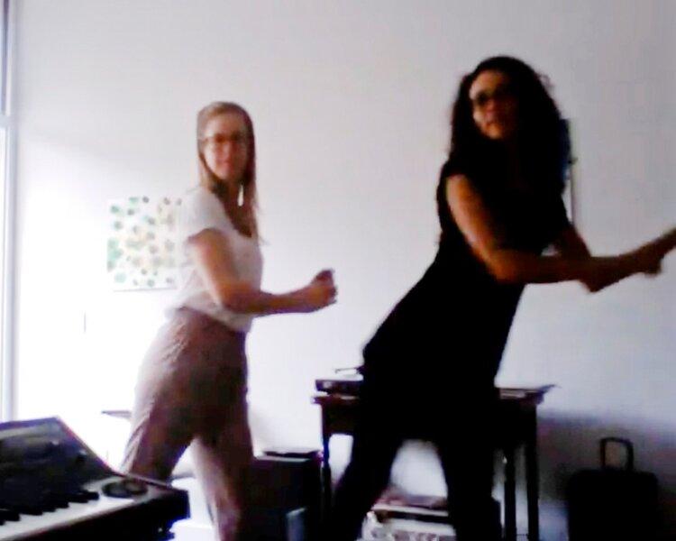 Julia Brown/ Lindsay Benedict Finnish Dance Instruction (homophonokinetic transcriptions), 2013 Color video, sound, 0:50 seconds.  (still)  Lent by the artists
