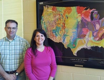 Clayton Cathey presented A Tapestry of Time and Terrain Map to Karyn Flowers at Parkway High School in Bossier City.