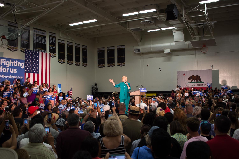 Hillary Clinton speaking June 4, 2016, in the Thomas Edison High School gymnasium, Fresno, California.