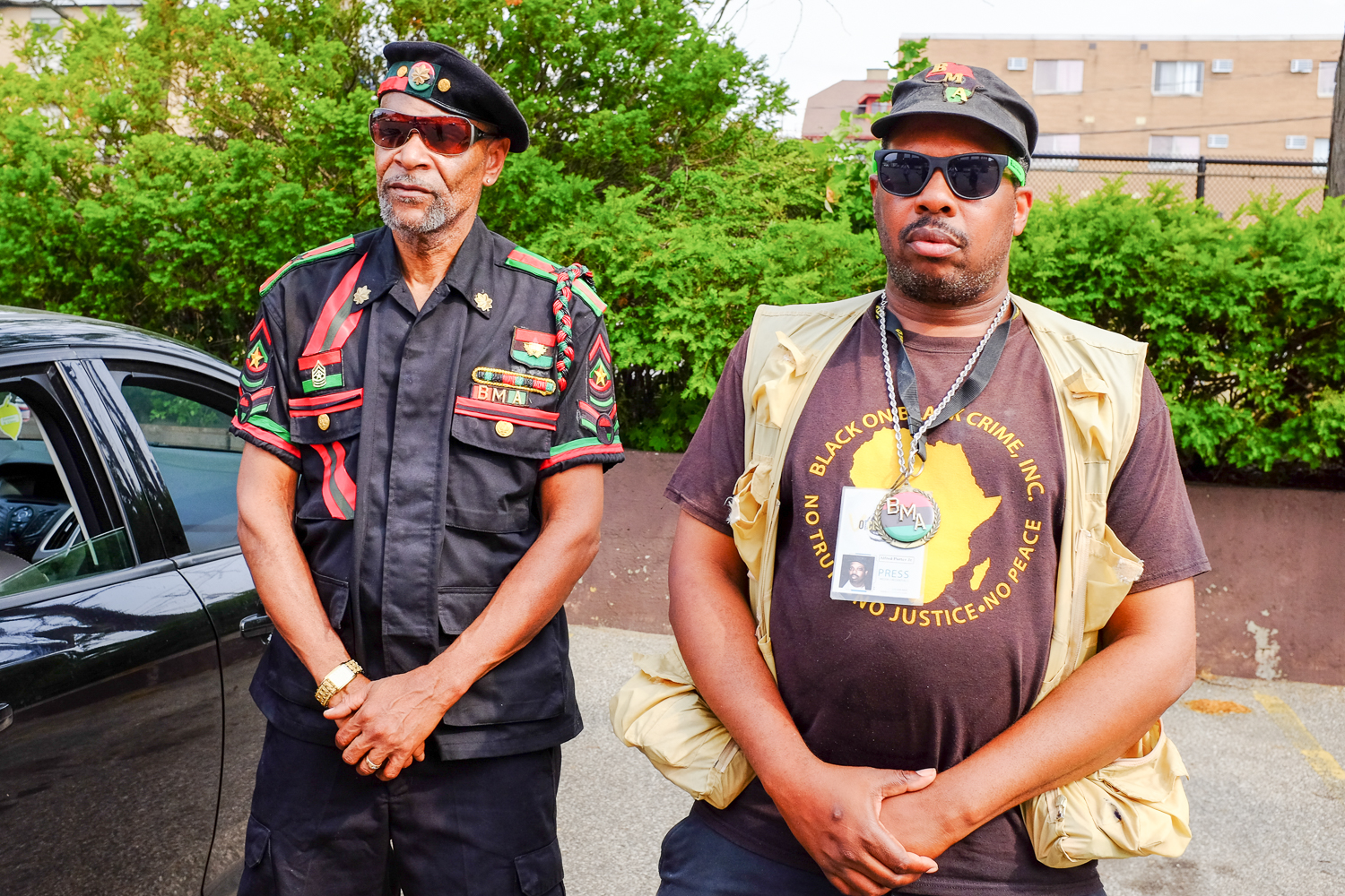 Two of Cleveland's social activists--Sergeant Major Stokes of the Black Man's Army and Al Porter of Black on Black Crime Inc.
