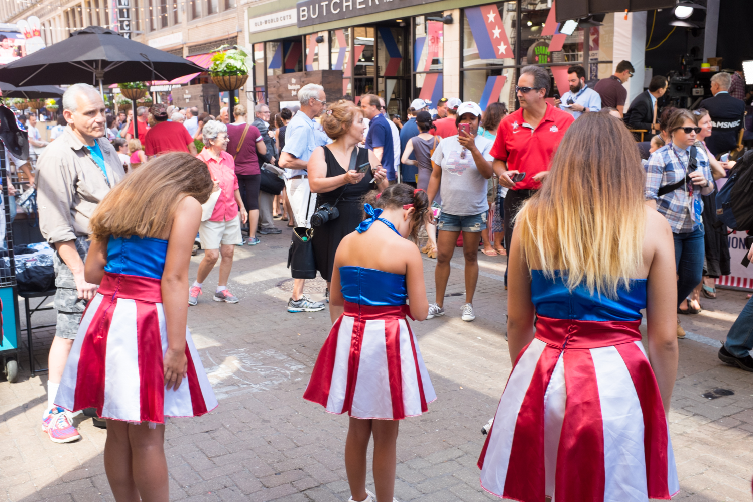 Those three girls from YouTube performed across from the MSNBC booth on West 4th Street.