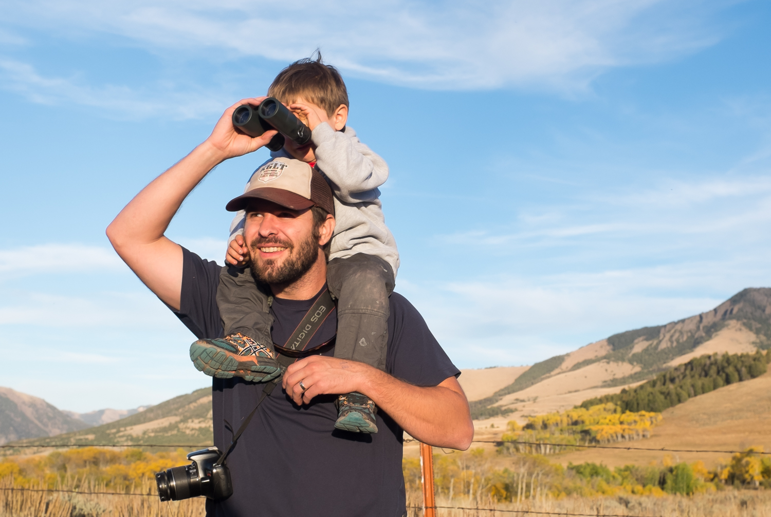 Bill Zanoni and son, looking for bears in Tom Miner Basin, just north of Yellowstone Park.