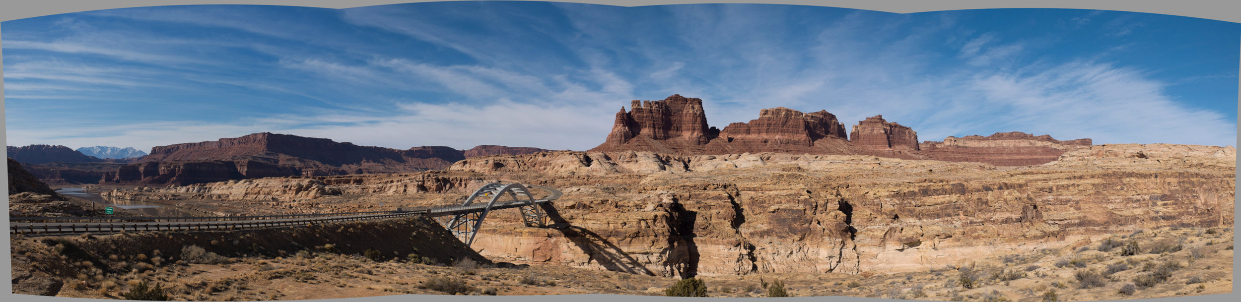 The bridge over the Colorado River where it becomes Lake Powell, Hite Crossing. Elevation 4000 feet.