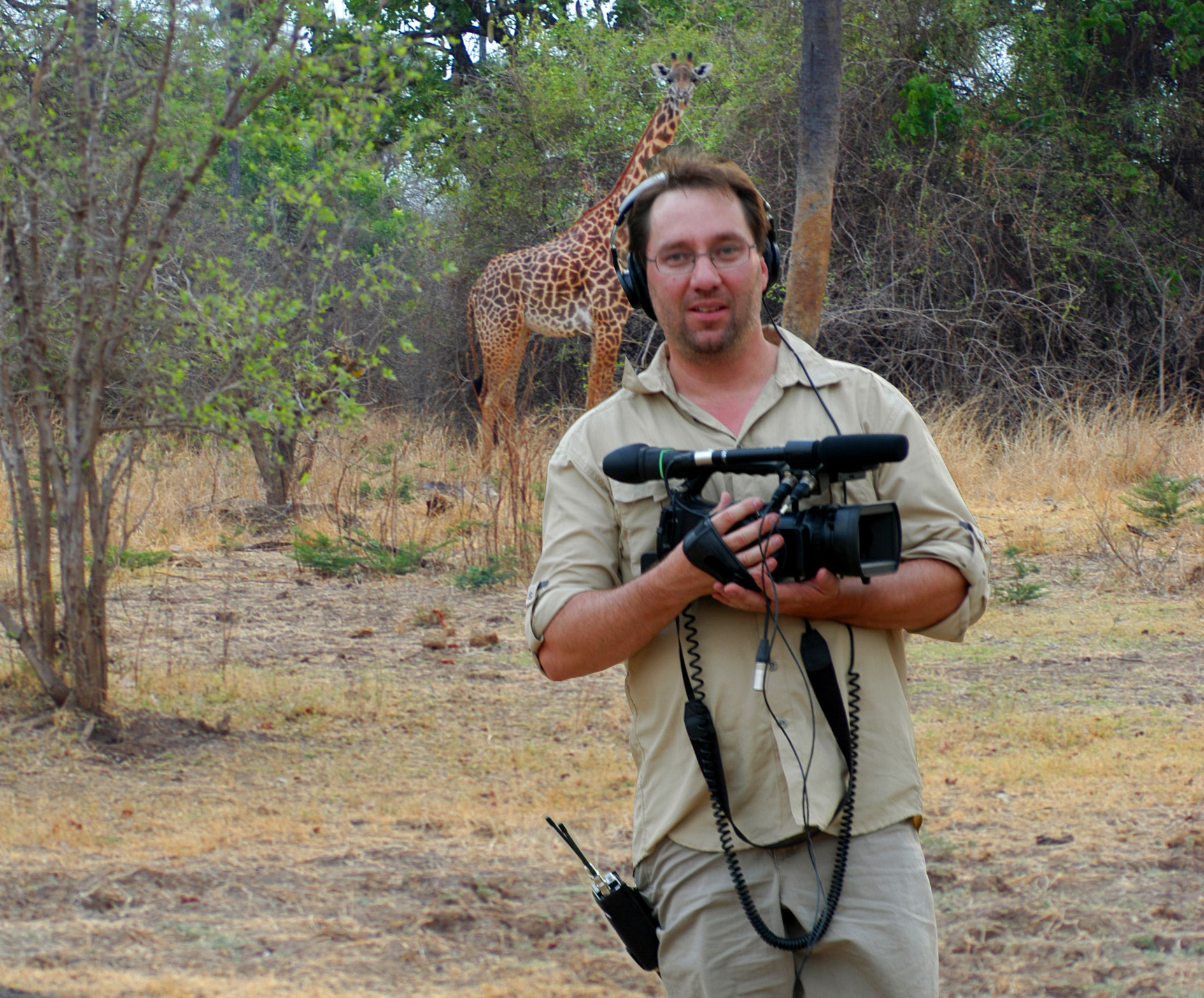 Filming a television show in Zambia, Africa