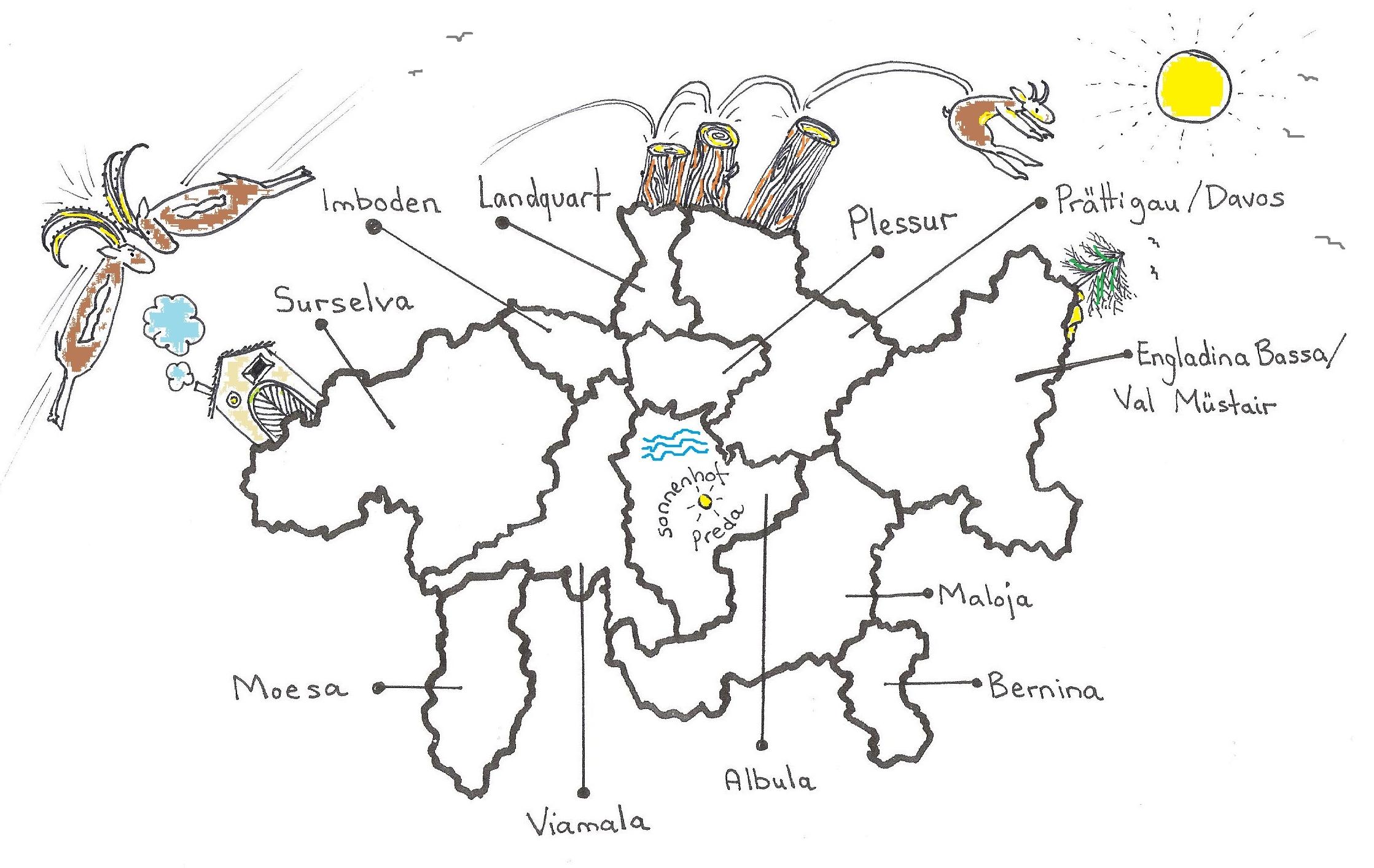 Graubünden ist heute in 11 Bezirke geteilt.