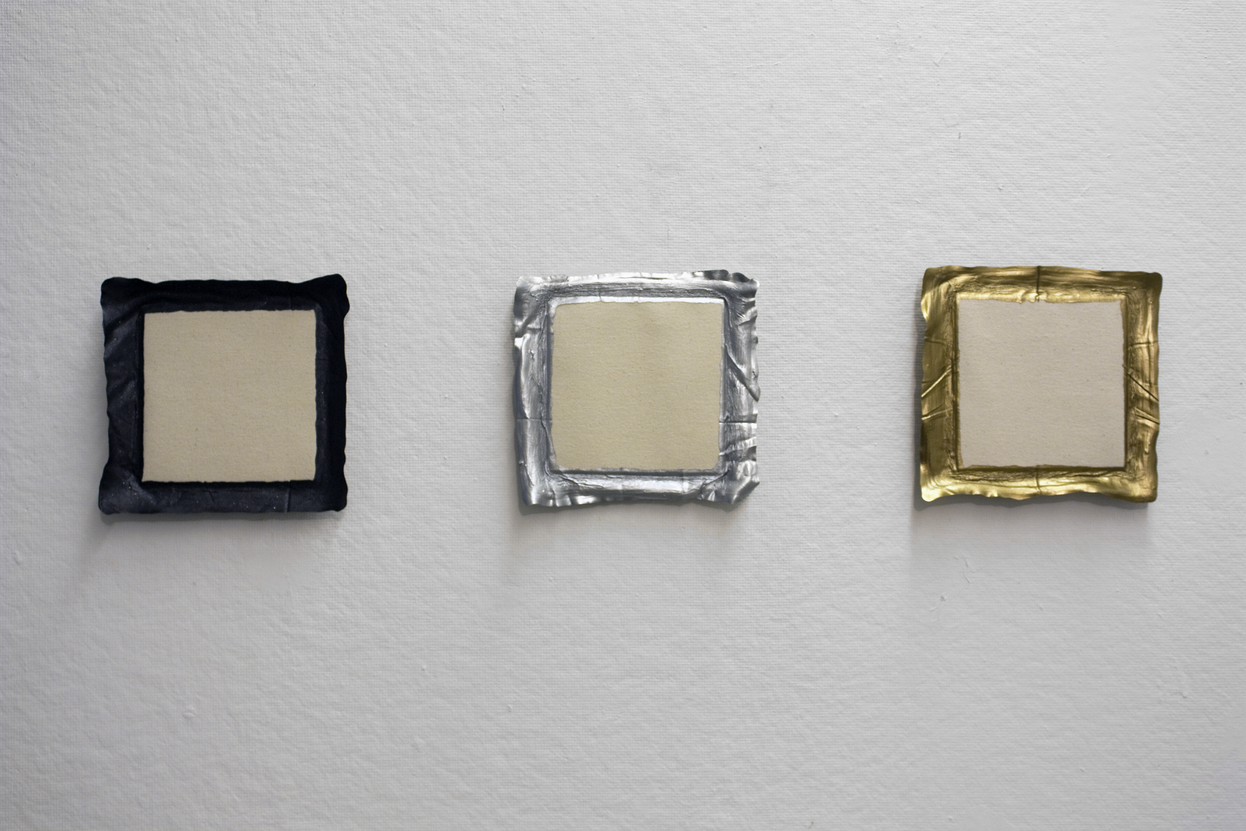 Untitled (Metal); Untitled (Silver); Untitled (Bronze), acrylic on canvas, 2010, 8 x 8in | 20 x 20cm each