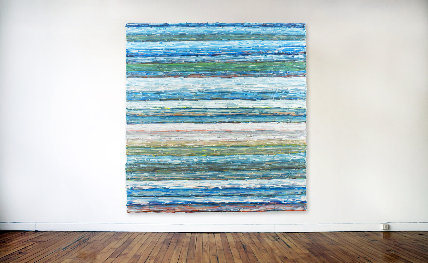 1st Ribbons,  acrylic on canvas, 2018, 63 x 60in   160 x 152cm