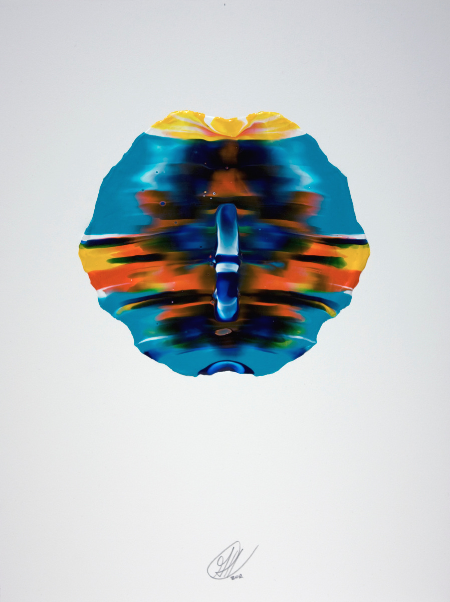 Una Volta, pressed acrylic mounted on paper, 2012, 8in diameter