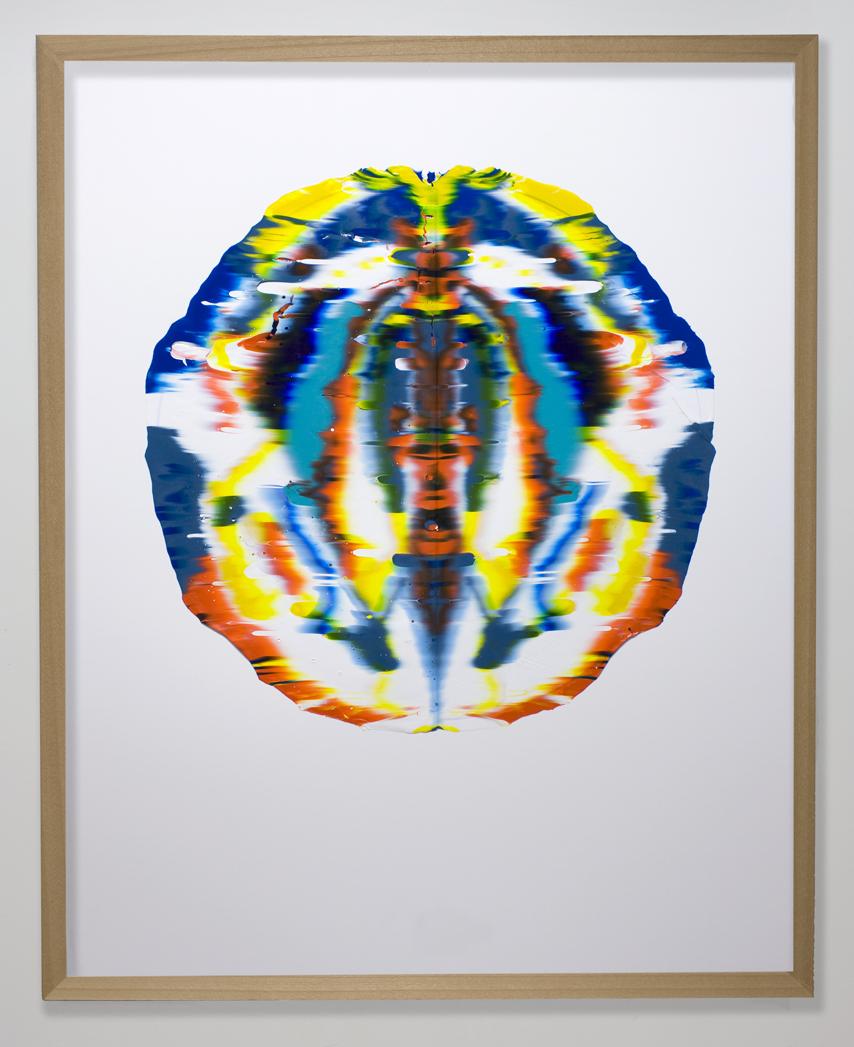 Una Volta, pressed acrylic mounted on paper, 2012, 27in diameter