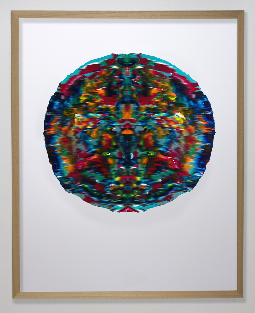 Una Volta, pressed acrylic mounted on paper, 2012, 27in diameter