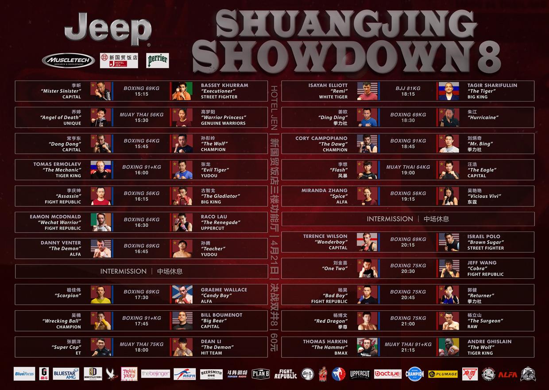 Shuangjing Showdown Fight Card Beijing 2018 Boxing Muay Thai