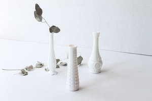 Southern Vintagewhite Ivorymilk Glass Tall Bud Vases