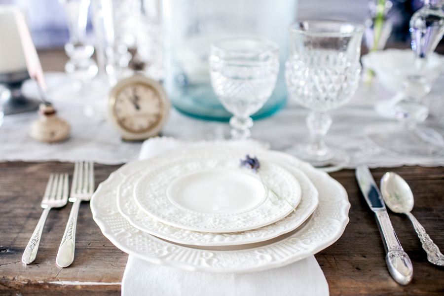 Southern Vinage table setting at  The Big Fake Wedding  in Athens, Georgia. Photo by  Kaitie Bryant Photography .