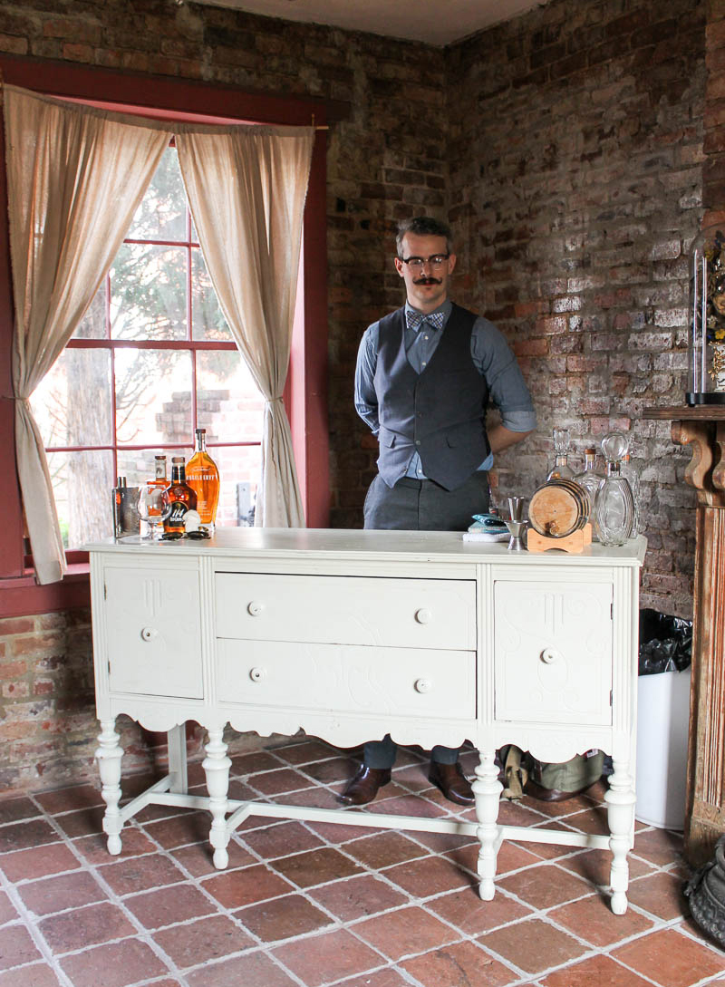 The bourbon tassting was a huge success at the Cannonball House event. Southern Vintage's  ivory sideboard, Harlow,  was perfect for the bourbon tasing bar.
