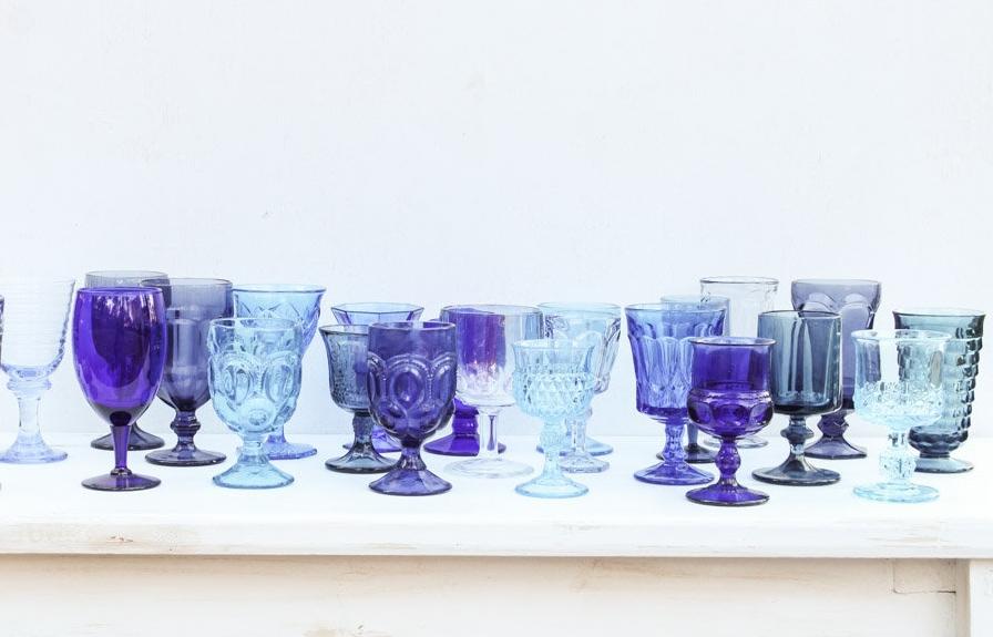 Match Stemware Blue, Vintage Blue Glassware
