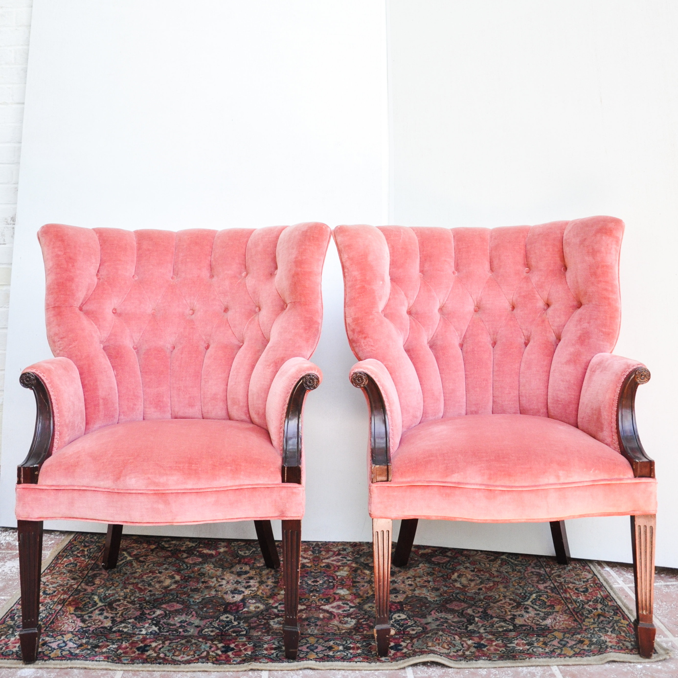 Our Thelma & Louise chairs are the perfect set of vintage pink velvet tufted back chairs to add a touch of color to any event (click photo for link).