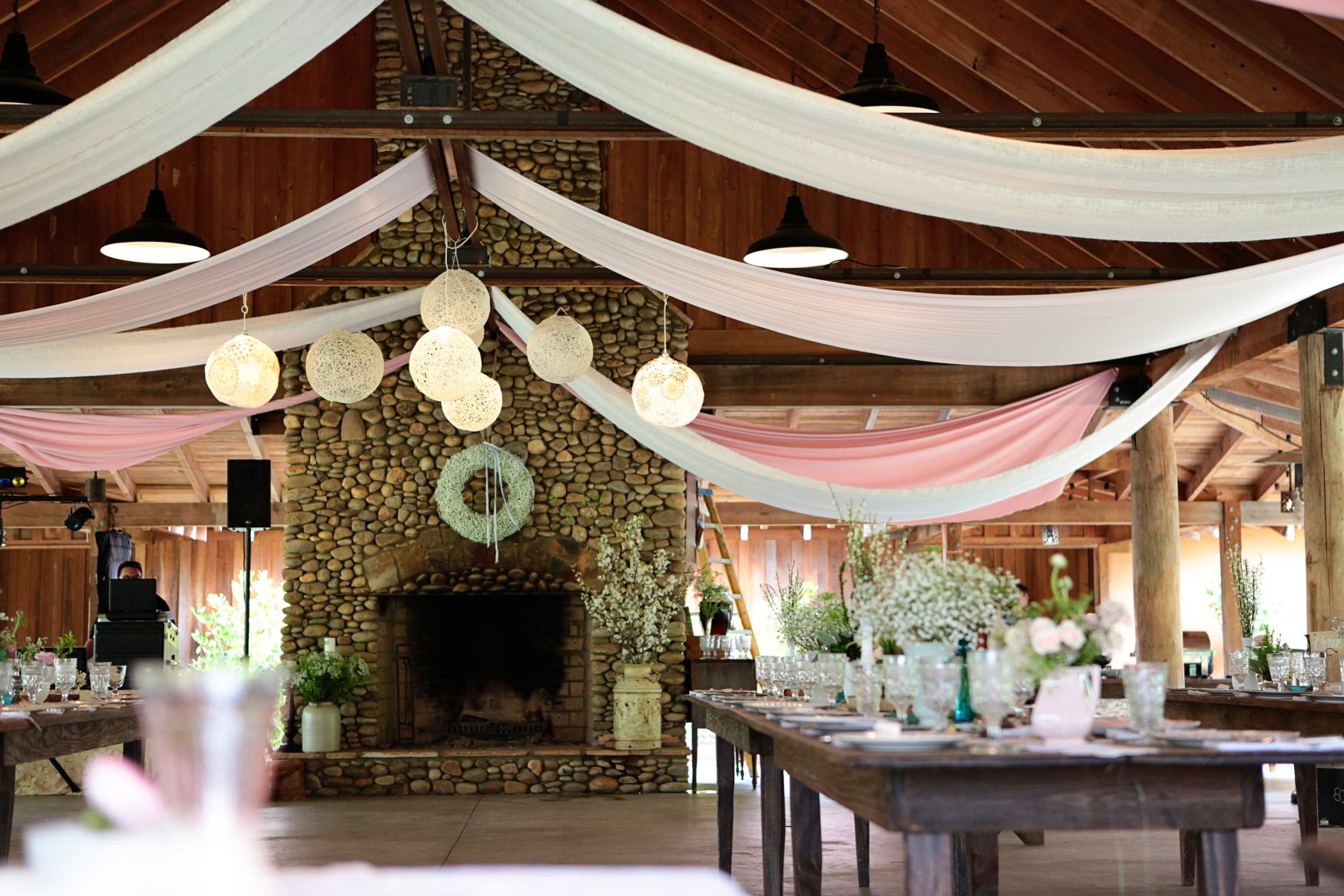 These globes gave the venue the feel of having its own blush moons (click for link).