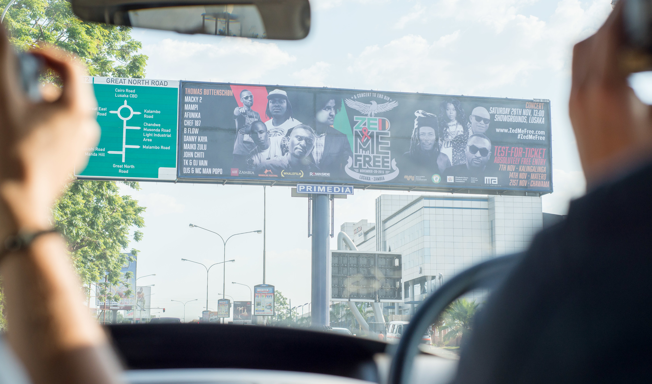 My portraits of the featured musicians were key elements for billboards utilized throughout Lusaka.