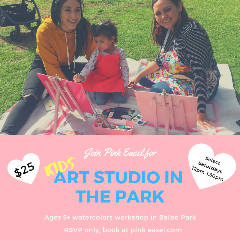 Have a young artist looking for some summer fun? Join Pink Easel at Balboa Park for our watercolor workshops where Pink Easel encourages artists to paint from their own imagination and creativity. Pink Easel will provide all art supplies like watercolor pencils, tubes, and pallets and cold press watercolor paper, brushes, paints, aprons, easels, and more. We encourage guests to bring snacks, something to sit on and your friends!  This class is for suggested ages 5+ to teens, with adult supervision and when purchasing tickets, you only need to reserve a spot for the artist who's painting. A reminder that all kids under 18 must be accompanied by an adult and adult needs to be present throughout the entire duration of the class.  Pink Easel will be held in Balboa Park, San Diego on the Botanical Building's front lawns, not in the Botanical Building. We'll provide a map.   Important Information:  Class begins promptly at the set time and failure to show up within the first 20 mins., (without reaching out via phone or email) ticket holders forfeit their seat to walk-ups.  Attendees can receive refunds up to 30 days before your event start date.   In the event of rain:  Emails will be sent as soon as it is determined that we will be rained out. We will postpone class for a later date.  We are not responsible for your personal belongings or for paint damage to your personal clothing or personal items.