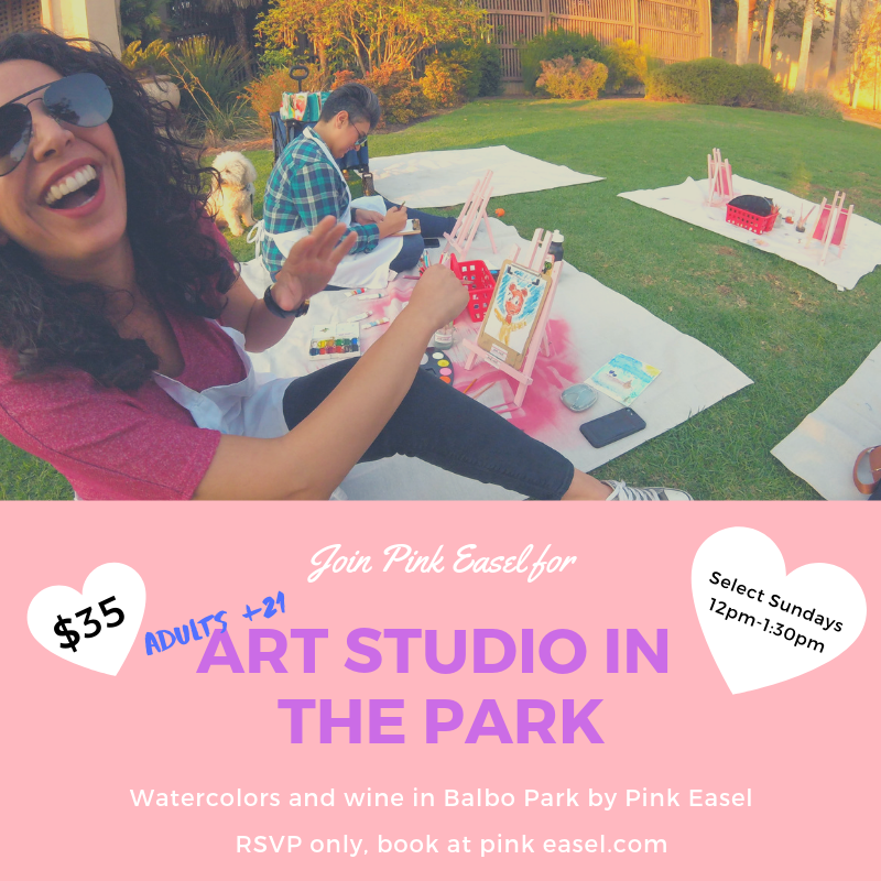 You bring the wine and we'll bring the watercolors at this 21+ Adults Art Studio in the Park. Artists to paint from their own imagination and creativity and Pink Easel will provide all art supplies from watercolor pencils, tubes, and pallets to cold press watercolor paper, brushes, paints, aprons, easels, and more. We encourage guests to bring snacks, something to sit on and your friends!   Alcohol Rules and Guidelines:   Alcohol is permitted from noon until to 8:00 p.m. in the following locations: Botanical Building East Lawn and West Lawn. Valid ID required for all guest who BYOB, 21+ to drink alcohol. Attendees may be subjected to show their valid ID to Balboa Park security officers. Pink Easel is not responsible for attendees who are not 21+, who do not have a valid ID, and we reserve the right to refuse service. (ex: nuisance or inappropriate conduct). We are not responsible for your personal belongings or for paint damage to your personal clothing or personal items. It is unlawful to possess any cup, jar or container made of glass and used to carry or containing liquid. SDMC 63.0102(b)(7).  You can BYOB (Bring Your Own Beer or Box of wine/champagne), but please no hard alcohol.  Grab your friends and split a 12-pack or a box of wine and create, if it's in class, bring a plastic cup.   Important Information:  Class begins promptly at the set time and failure to show up within the first 20 mins., (without reaching out via phone or email) ticket holders forfeit their seat to walk-ups.  Attendees can receive refunds up to 30 days before your event start date.   In the event of rain:  Emails will be sent as soon as it is determined that we will be rained out. We will postpone class for a later date.  We are not responsible for your personal belongings or for paint damage to your personal clothing or personal items.
