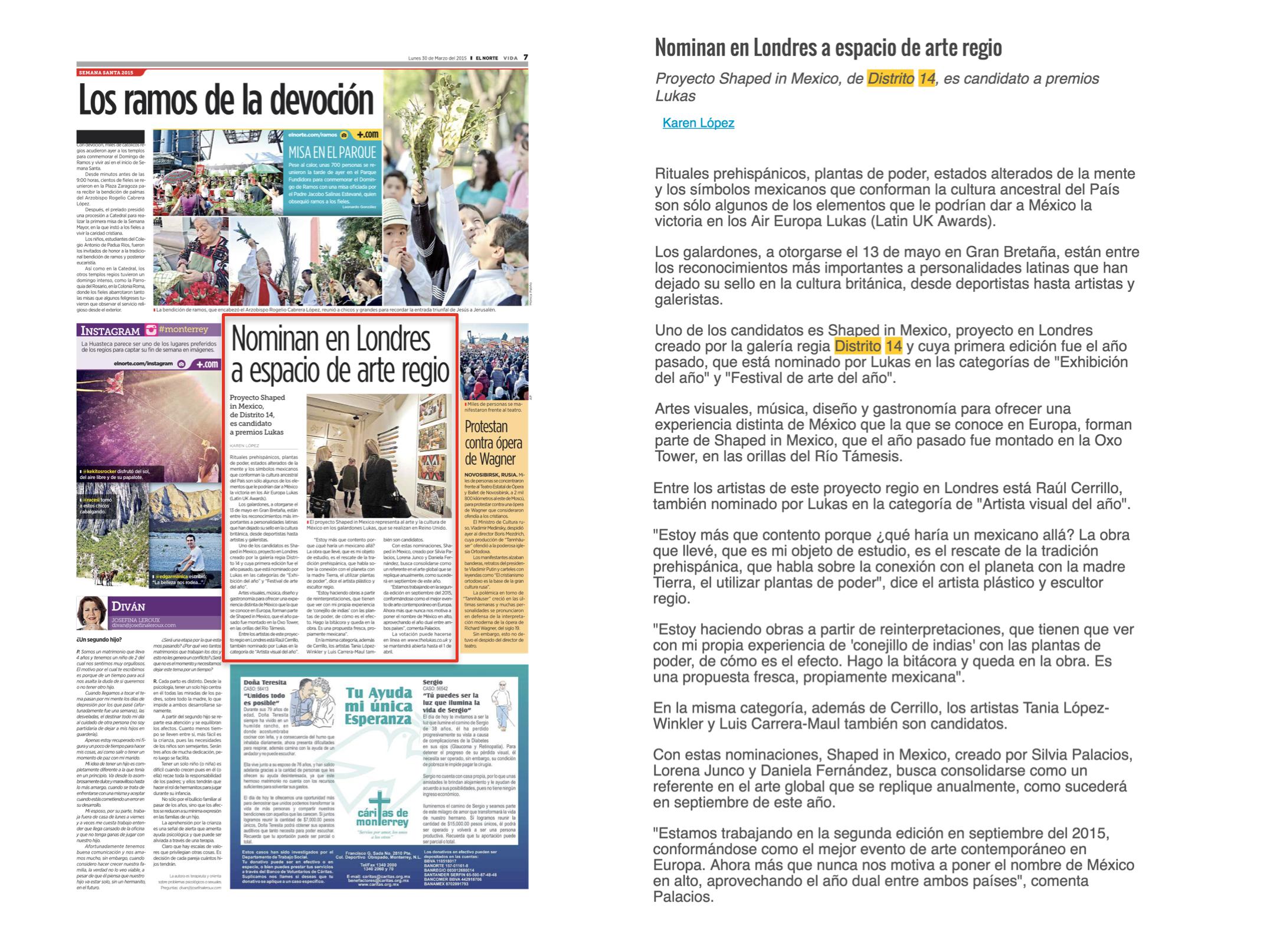 EL NORTE / SECCION VIDA   SHAPED IN MEXICO   MARZO 2015