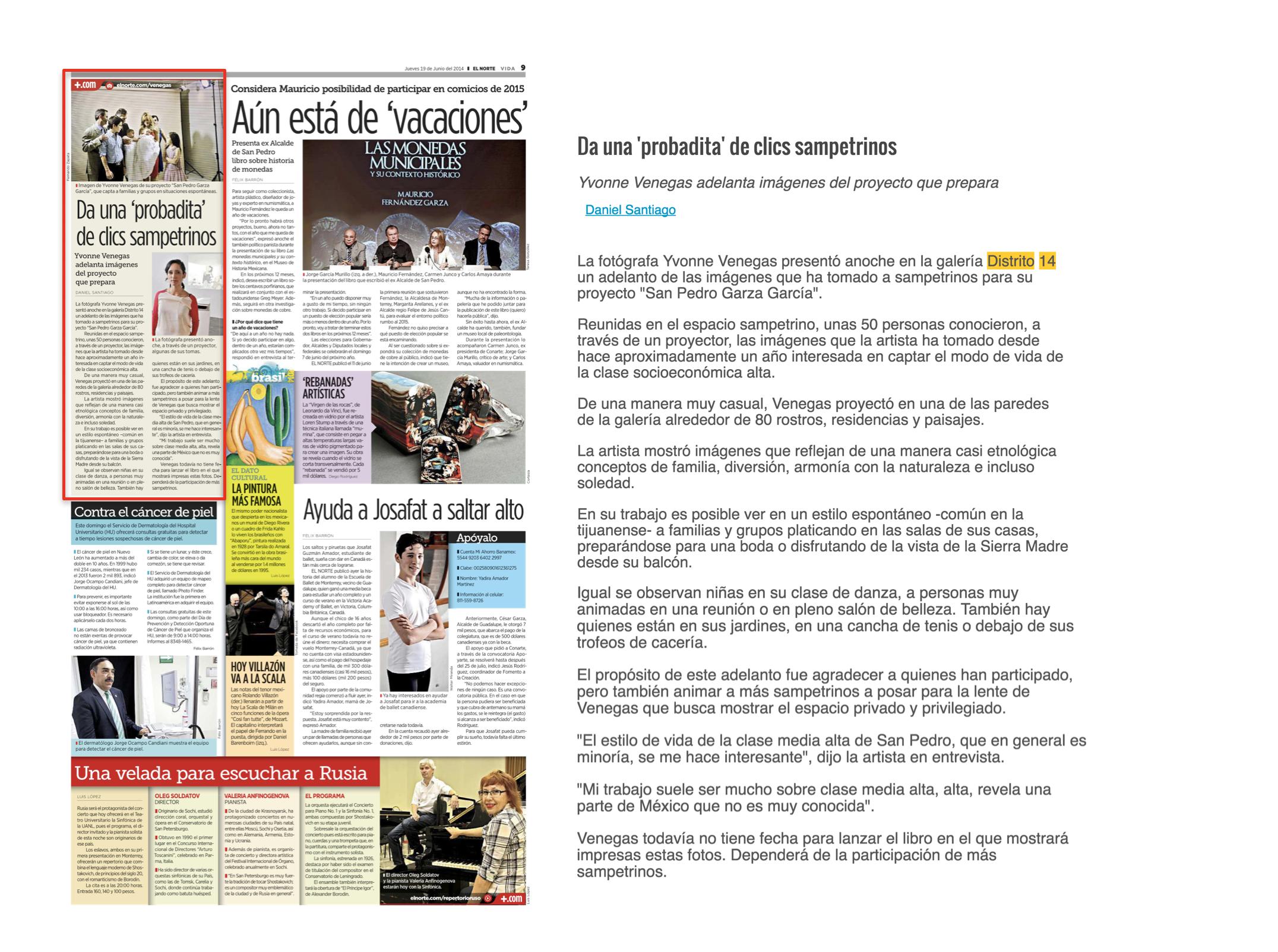 EL NORTE / SECCION VIDA   PRESENTACION LIBRO YVONNE VENEGAS   JUNIO 2014
