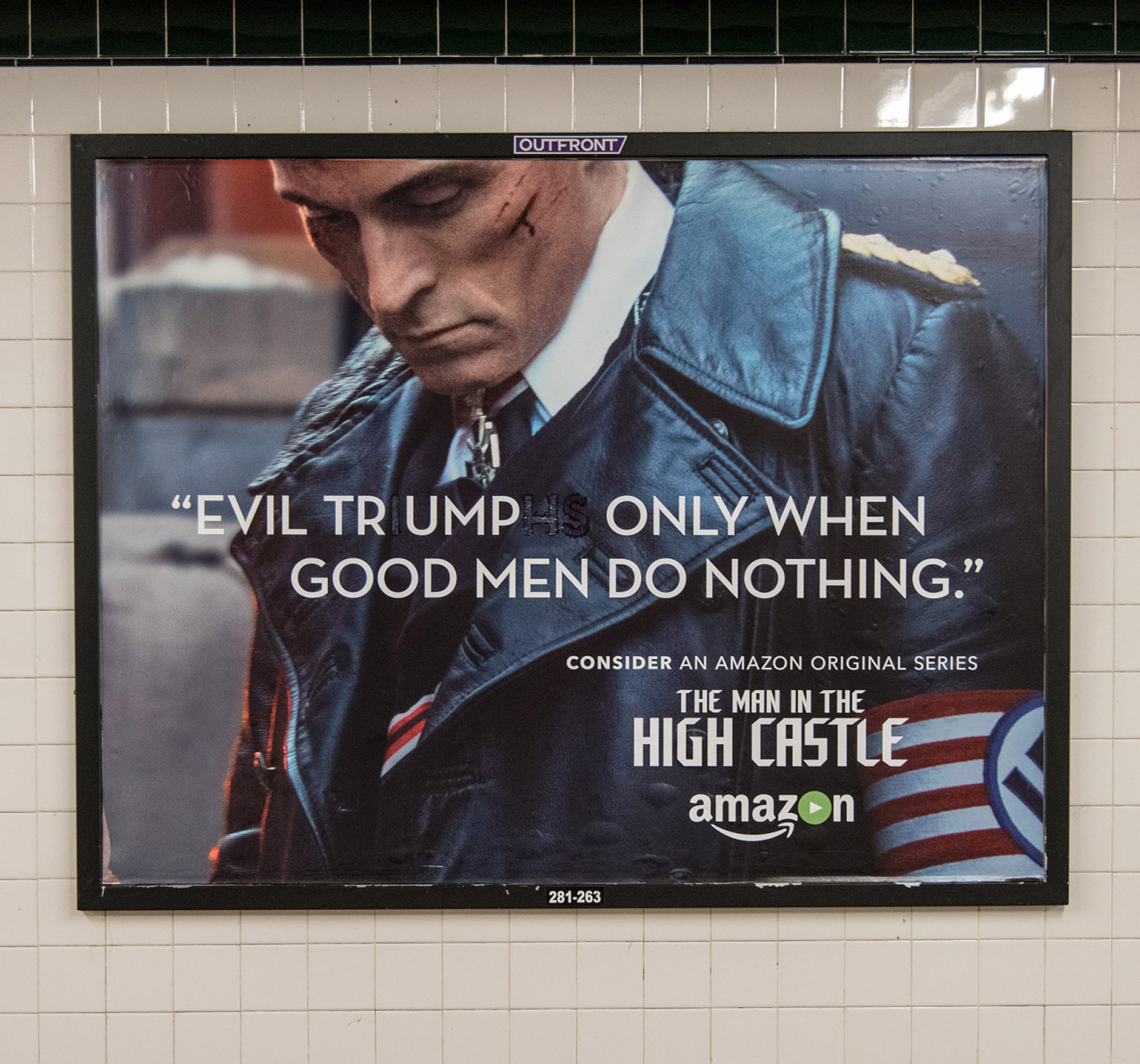 Slightly revised subway ad in Queens, NYC.