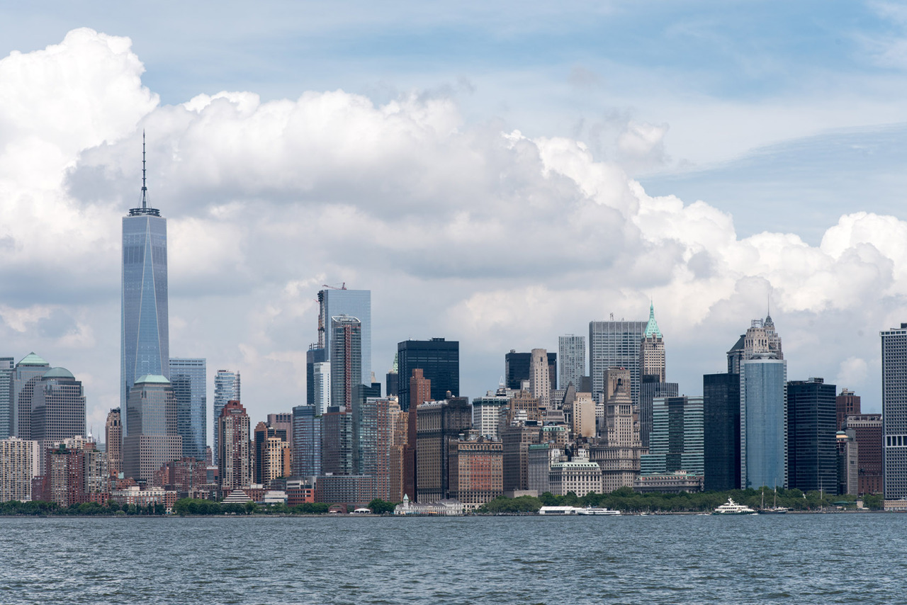 Lower Manhattan from the upper bay of New York Harbor.