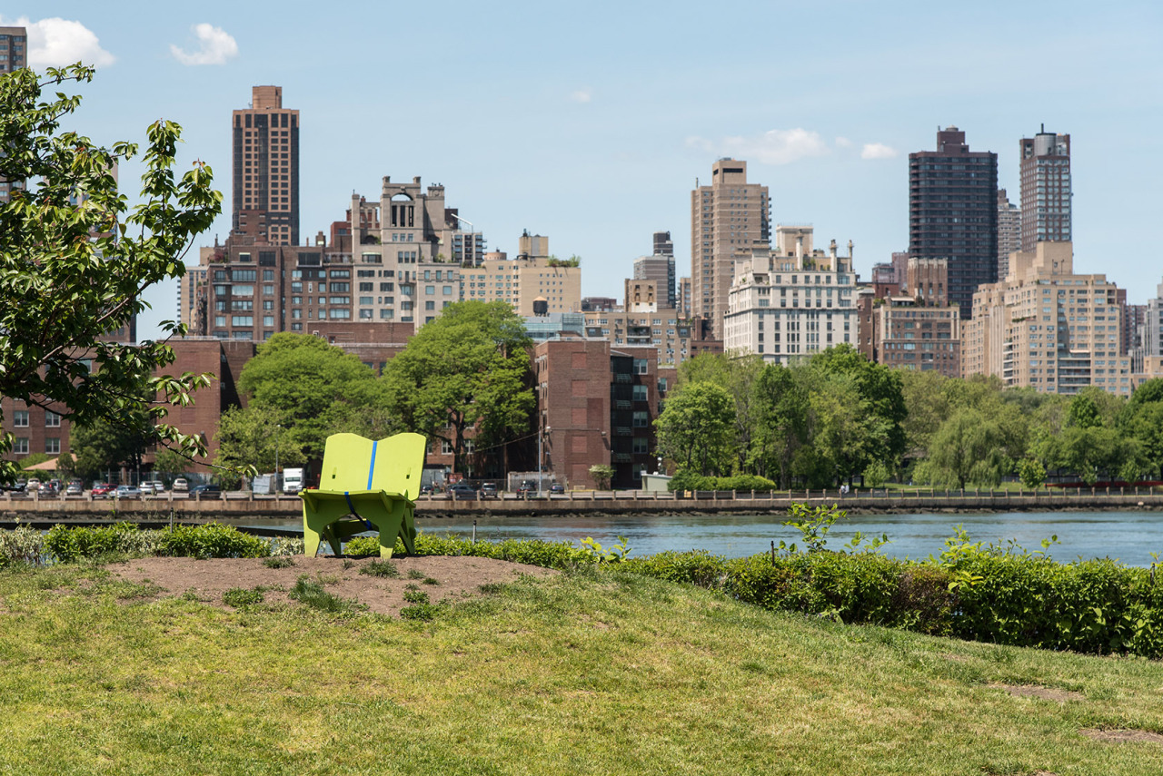 Socrates Sculpture Park  in Long Island City, Queens with Manhattan in the background. NYC.