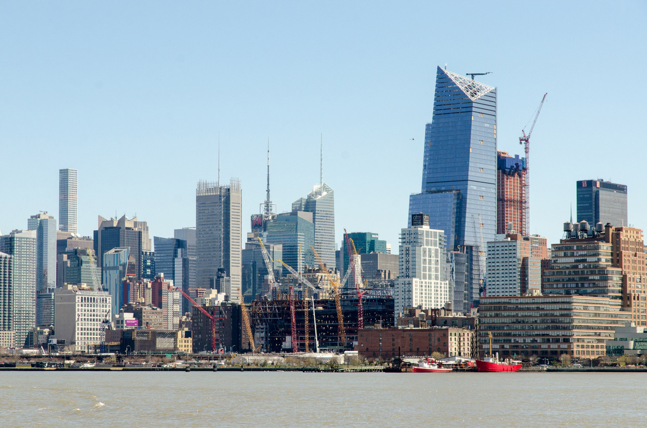 Hudson Yards under construction. At 20 billion dollars it's the biggest development project in NYC history.