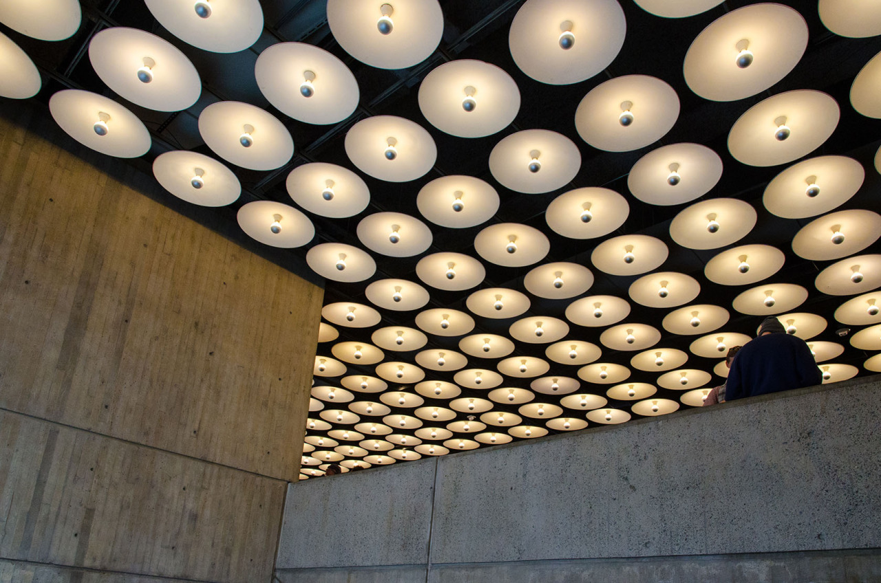 Old lights in a new museum. The lobby of the Met Breuer in NYC.