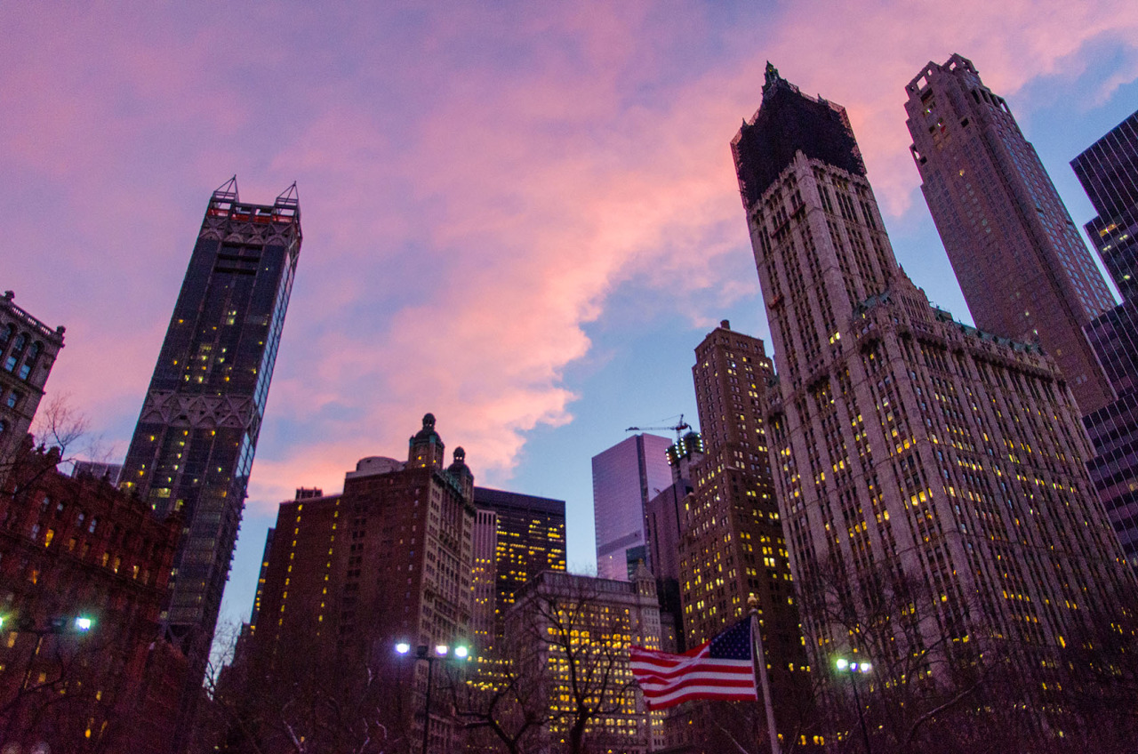 Lower Manhattan at dusk from the steps of City Hall. NYC.