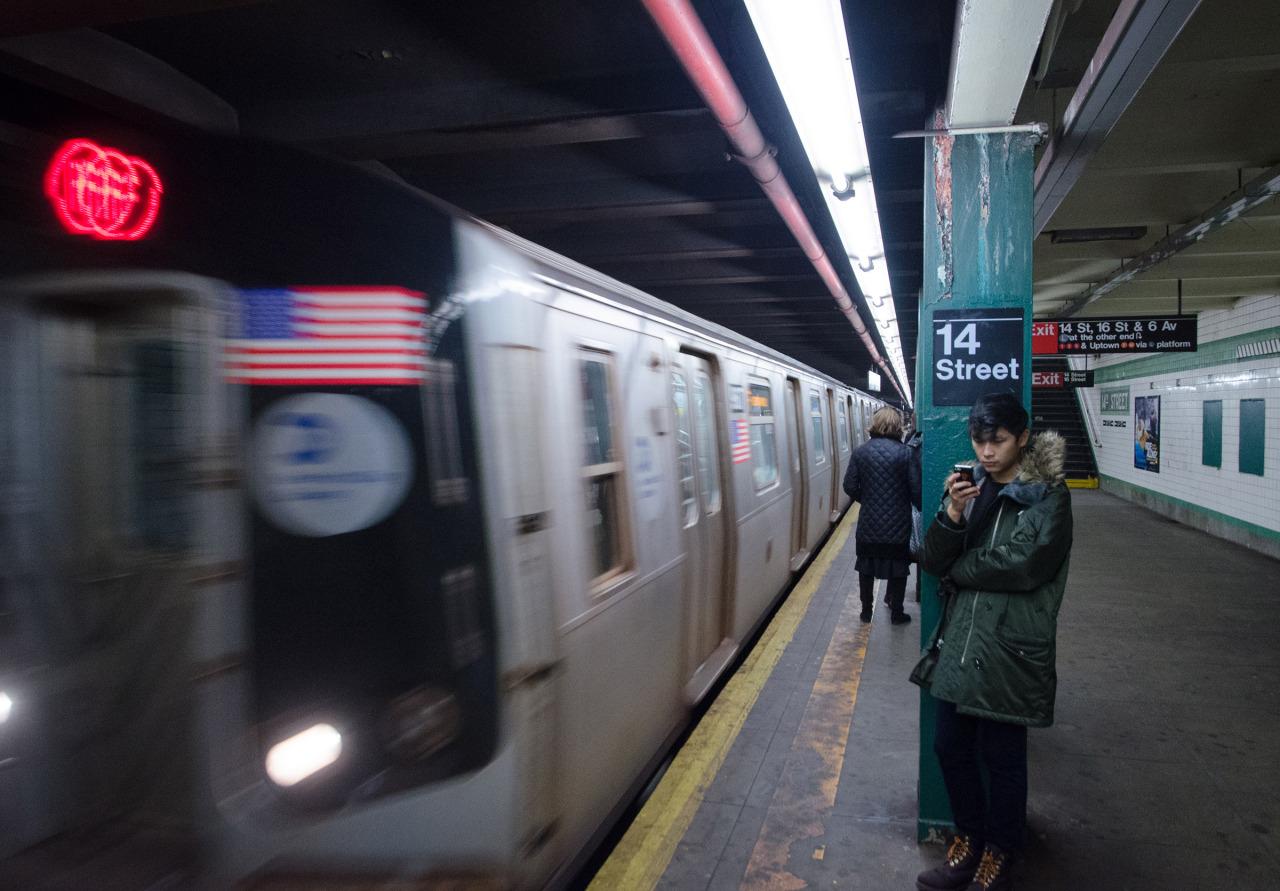 Arriving train  West Village, NYC.